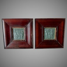 Pair Art Pottery Tiles of Nude Ladies Dancing, Studio Pottery, Framed
