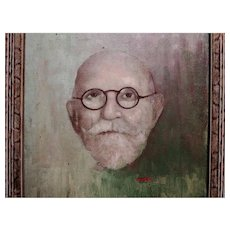 Whimsical Portrait Oil Painting by Listed Artist, Henry Dirit, European, 20th Century