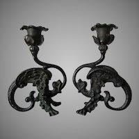 Antique Cast Iron Gargoyle, Dragon Candlesticks
