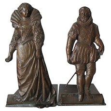 Lovely Pair Antique Bronze Bookends, Renaissance Couple