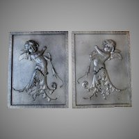 Pair Lovely Edwardian Cherub Angel Plaques