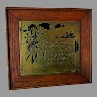 Antique c1902 Art Nouveau Motto Plaque, Brass & Oak by Wharff Eaton