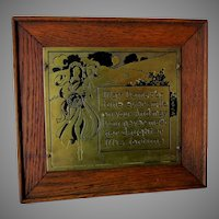 Antique c1902 Art Nouveau Motto Plaque, Brass & Oak by Wharff Eaton