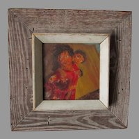 Mid Century Oil Painting, Children Playing, Barn Wood Frame