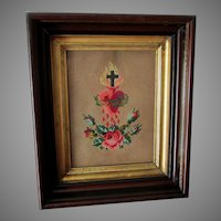 Antique Punched Paper Sampler, Sacred Heart, Christianity