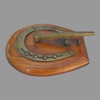 Antique Horseshoe Paperclip, Brass & Oak Desk Top Letter Clip, Memo Holder