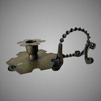 Antique Arts & Crafts Candlestick, Chamberstick, Hammered Brass, Wrought Iron
