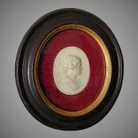 Antique Grand Tour Cameo, Miniature Portrait Plaque, Signed
