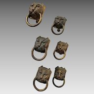 Great Set of 6 Antique Bronze Lion Head Handles, Drawer Pulls