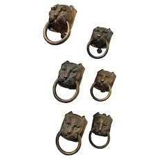Great Set of 6 Antique Bronze Lion Head Handles, Drawer Pulls