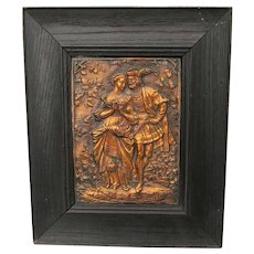 Antique European Repousse Copper Plaque, Renaissance Couple