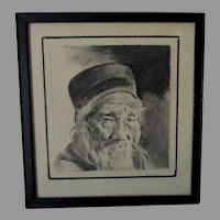 Antique Charcoal Drawing, Illustration of an Asian Gentleman