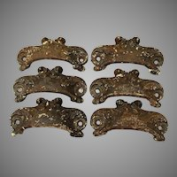 6 Antique Cast Iron, Art Nouveau Handles, Drawer Pulls