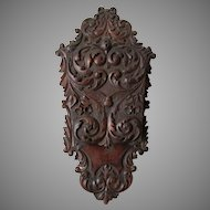 Antique Hand Carved Wall Pocket with Bird & Flowers