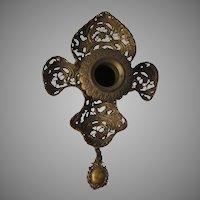 Delicate Antique French Fleur de Lis Candlestick, Filigree Chamberstick