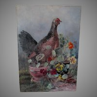 Antique c1889 Folk Art Oil Painting of a Chicken & Pansy Flowers