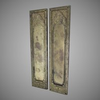 Pair Antique Bronze Push Plate, Architectural Door Hardware, Arabesque
