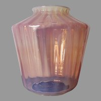 Antique c1880s Pink Opalescent Glass Lamp Shade