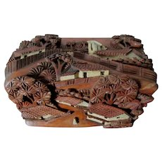 Vintage Hand Carved Box with Village, Houses & Buildings, Trees