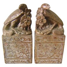 Antique Chinese Soapstone Carvings, Bookends, Birds and Flowers