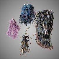 Antique Beaded Glass Fringe, Art Nouveau, Deco Glass Tassels