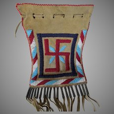 Vintage Native American Indian Beaded Leather Bag, Tin Cones, Fringe