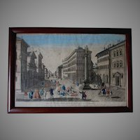 18th Century Hand Colored Print, City of Florence, Piazza Santa Trinita