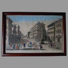 18th Century Hand Colored Print, City of Florence, Piazza Santa Trinita
