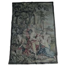 Lovely Antique French Tapestry of a Ladies in a Garden