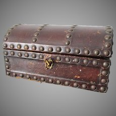 Old Miniature Dome Top Leather Jewelry Box with Brass Studs