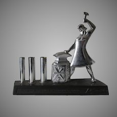 Vintage Russian Store Display Man with Anvil, Art Deco Chrome
