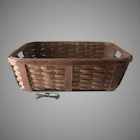 Antique Split Oak Laundry Basket, Country, Primitive Accessory