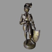 Antique Sculpture of a Knight in Armor with French Flag
