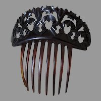 Antique Victorian Ladies Hair Comb, Hand Carved Horn