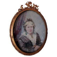 Pretty Antique Miniature Painting of a Lady in Lace