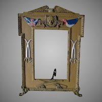 Antique World War I Military Picture Frame, French, British Flag