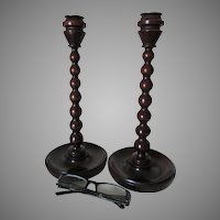 Pair Tall Elegant Antique English Edwardian Wood Candlesticks