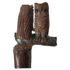 Antique Edwardian Umbrella with Carved Wood Great Horned Owls Handle