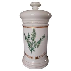 Antique Porcelain Apothecary Jar, Eleboro Blanco, Hand Painted