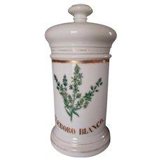 Antique Porcelain Apothecary Jar, Eleboro Blanco, Hand Painted