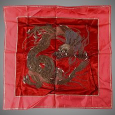 Asian, Chinese Silk Tapestry with Dragon, Metallic Embroidery