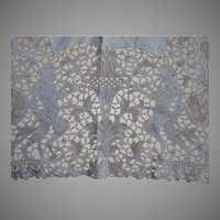 Antique European Lace Table Runner with Men and Faces, Linen Tablecloth