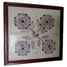 Set of 4 Antique Hand Painted Delft Magnesium Floral Tiles