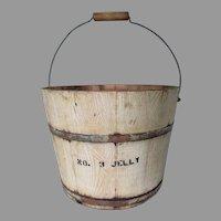 Antique Primitive Wood Jelly Pail in Original Grain Paint