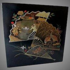 Antique Asian Paper Mache Box with Fans, Cranes, Flowers