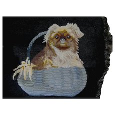 Lovely Needlepoint Tapestry of a Dog in Basket, Velvet Pillow