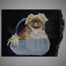 Lovely Needlepoint Tapestry of a Dog in Basket, Velvet Pillow