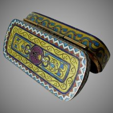 French Champlevé Enamel Snuff Box, with Crown, Vanity Accessory