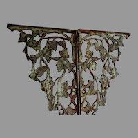 Antique Architectural Cast Iron Shelf Brackets with Grape Vines