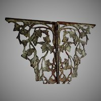 Antique Architectural Cast Iron Shelf Brackets with Grape Vines